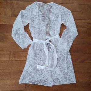 ASOS white lace kimono cardigan robe small